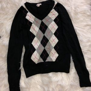 Merona black and pink plaid v neck sweater
